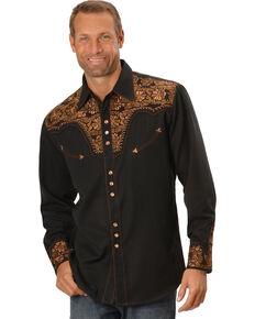 Scully Men's Copper Embroidered Gunfighter Shirt - Big, Black, hi-res