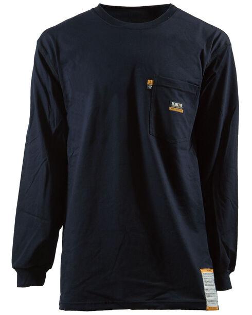 Berne Khaki Long Sleeve Flame Resistant Crew Neck T-Shirt - 3XL and 4XL, Navy, hi-res