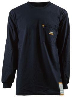 Berne Khaki Long Sleeve Flame Resistant Crew Neck T-Shirt - 2XT, Navy, hi-res