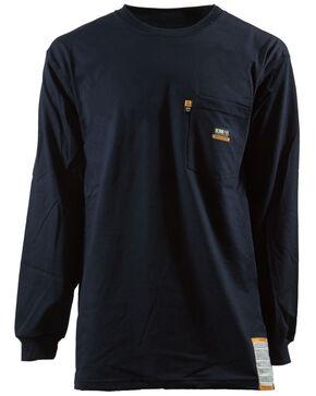 Berne Khaki Long Sleeve Flame Resistant Crew Neck T-Shirt - 3XT and 4XT, Navy, hi-res