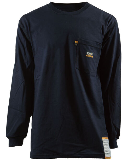 Berne Khaki Long Sleeve Flame Resistant Crew Neck T-Shirt - 3XT and 4XT, Navy, hi-res