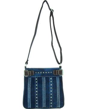 Savana Women's Rhinestone & Stud Denim Messenger Bag, Blue, hi-res