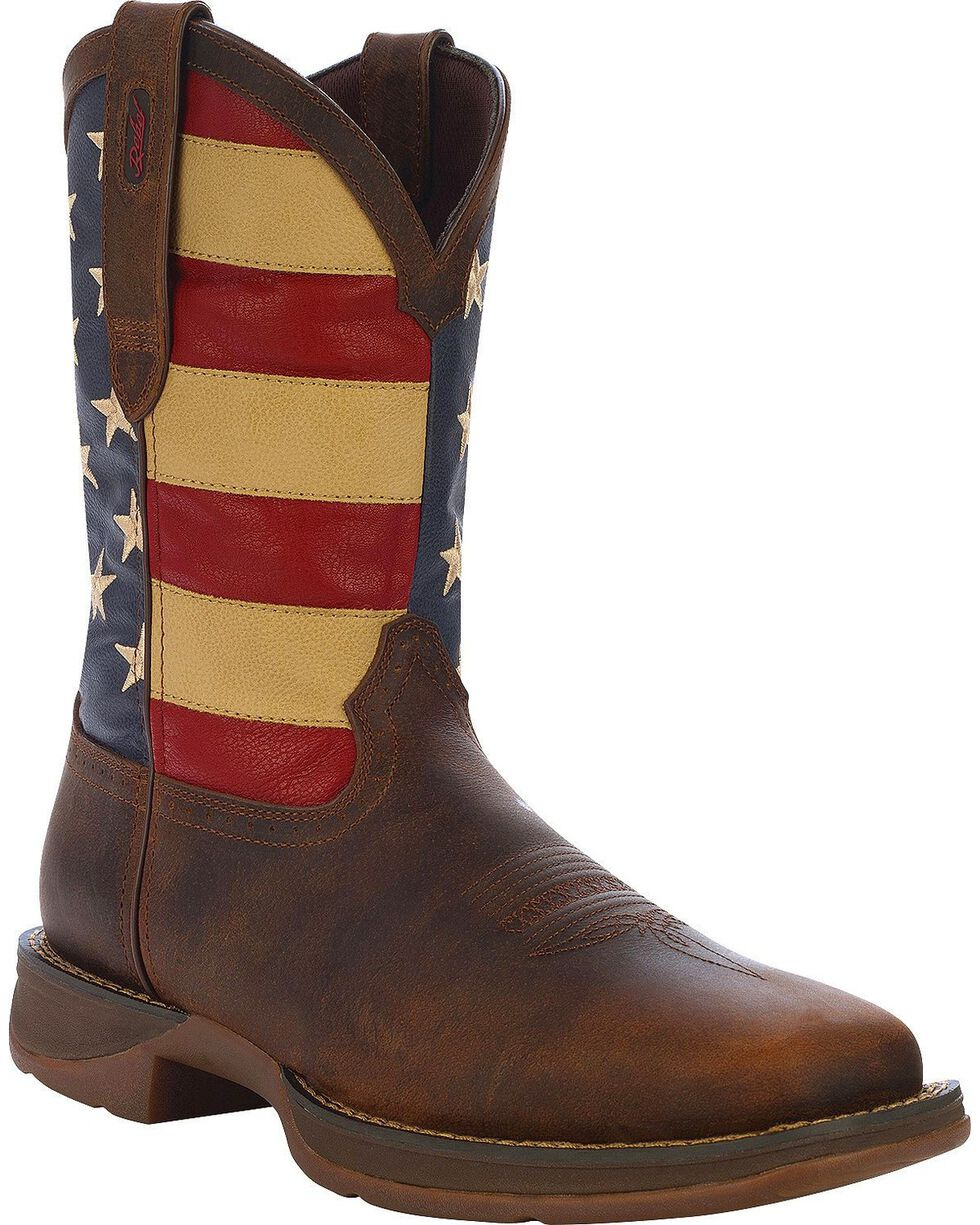 Durango Rebel Men's American Flag Cowboy Boots - Square Toe, Brown, hi-res