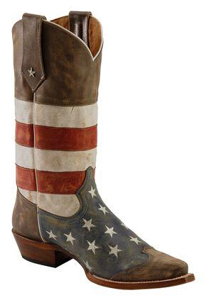 Roper American Flag Cowboy Boots - Snip Toe, Blue, hi-res