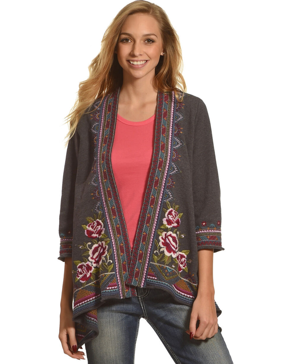 Johnny Was Women's Charcoal Langley Draped Cardigan , Charcoal, hi-res