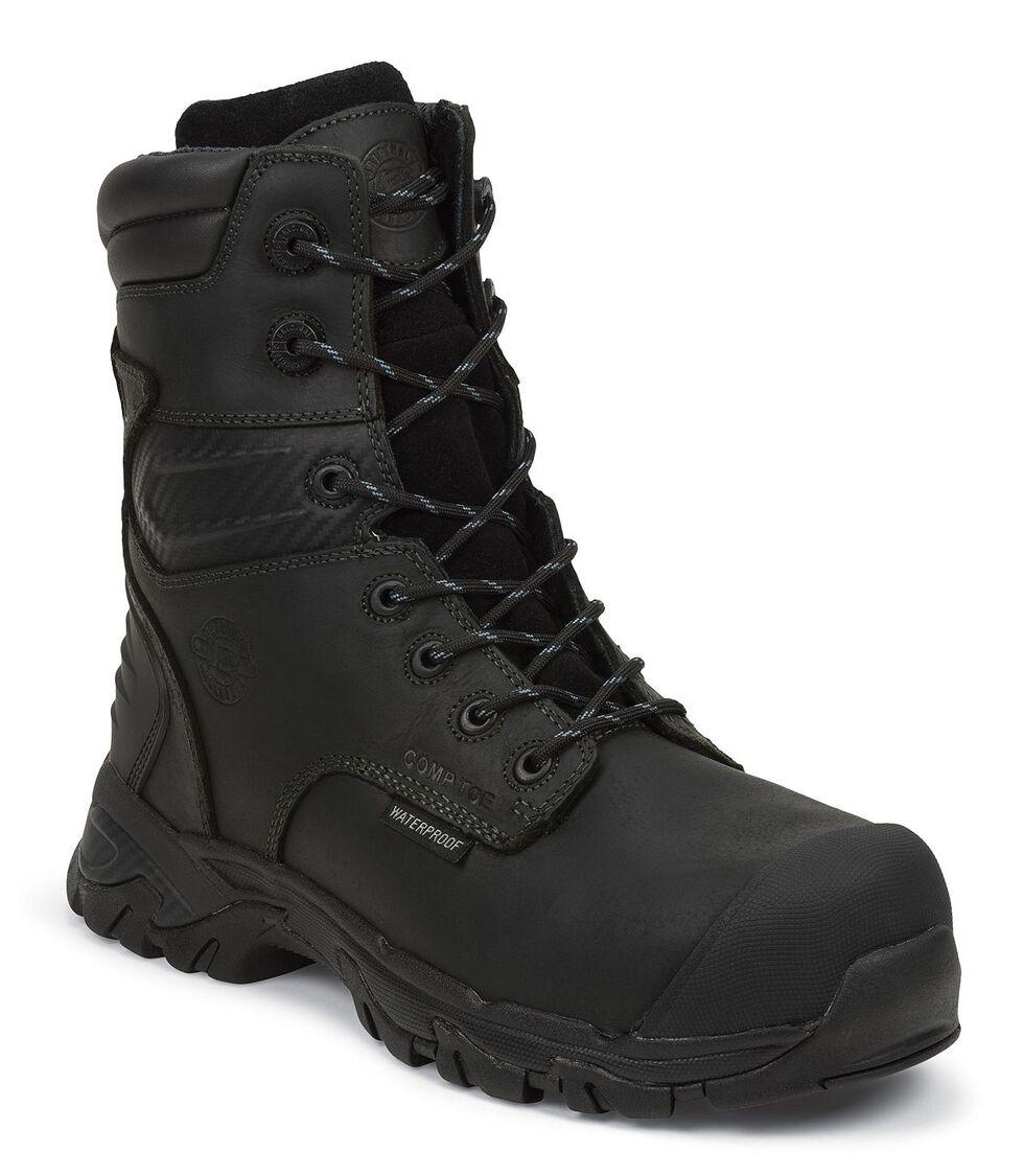 "Justin Men's Work-Tek 8"" EH Waterproof Lace-Up Work Boots - Composite Toe, Black, hi-res"