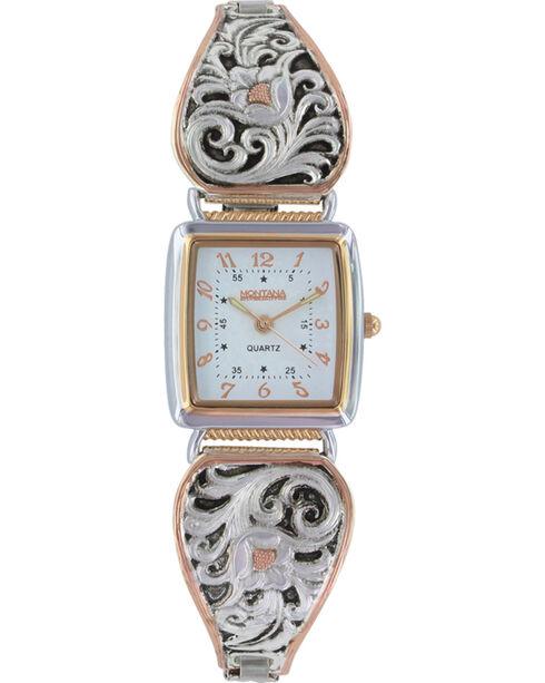 Montana Silversmiths Women's LeatherCut Rose Gold Expansion Band Watch, Multi, hi-res