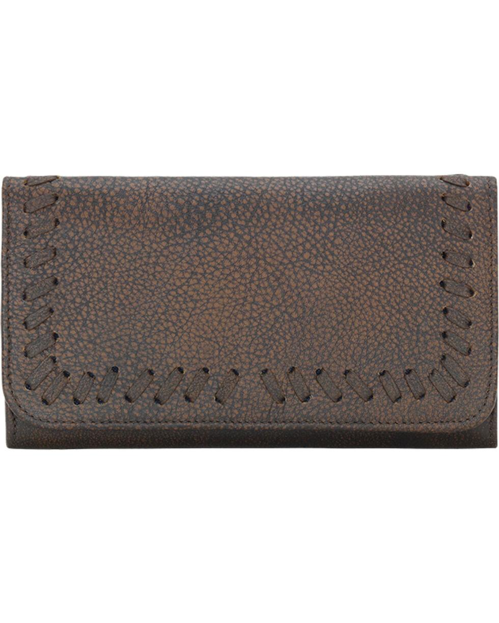 TrueLu Women's Brown Claire Tri-Fold Wallet , Dark Brown, hi-res