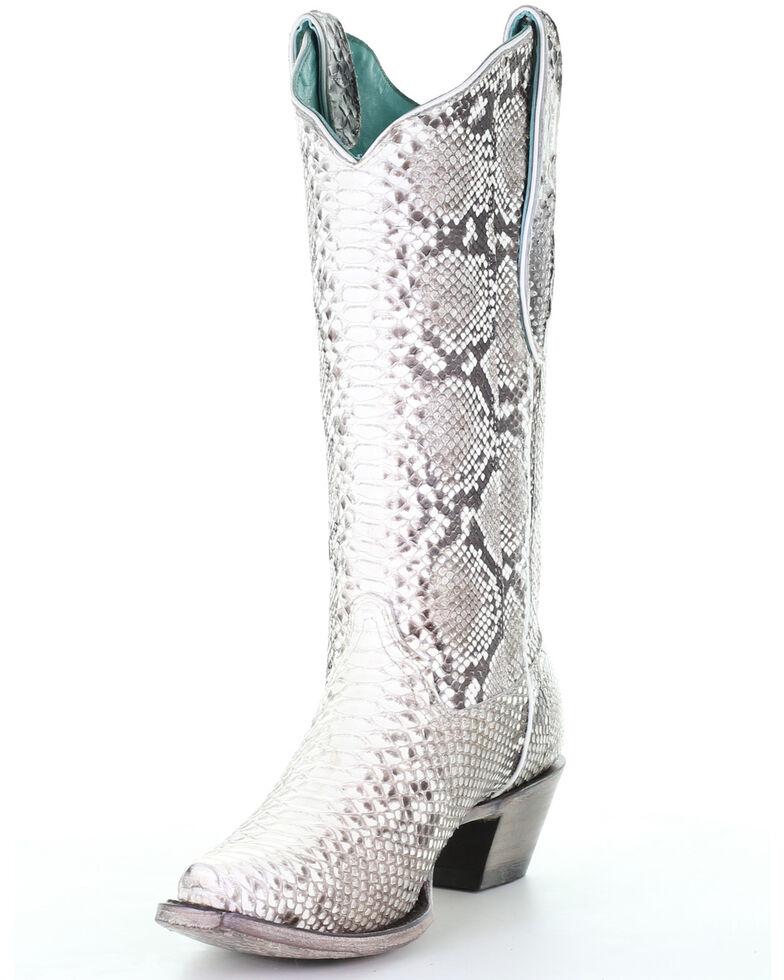 Corral Women's Natural Python Boots - Snip Toe, Natural, hi-res