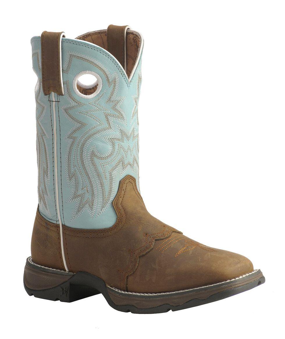 Durango Lady Rebel Blue Saddle Cowgirl Boots - Square Toe, Bay Apache, hi-res