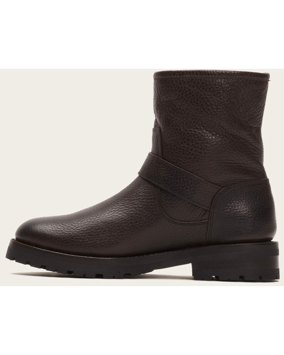 Frye Women's Natalie Engineer Lug Shearling Boots, Dark Brown, hi-res
