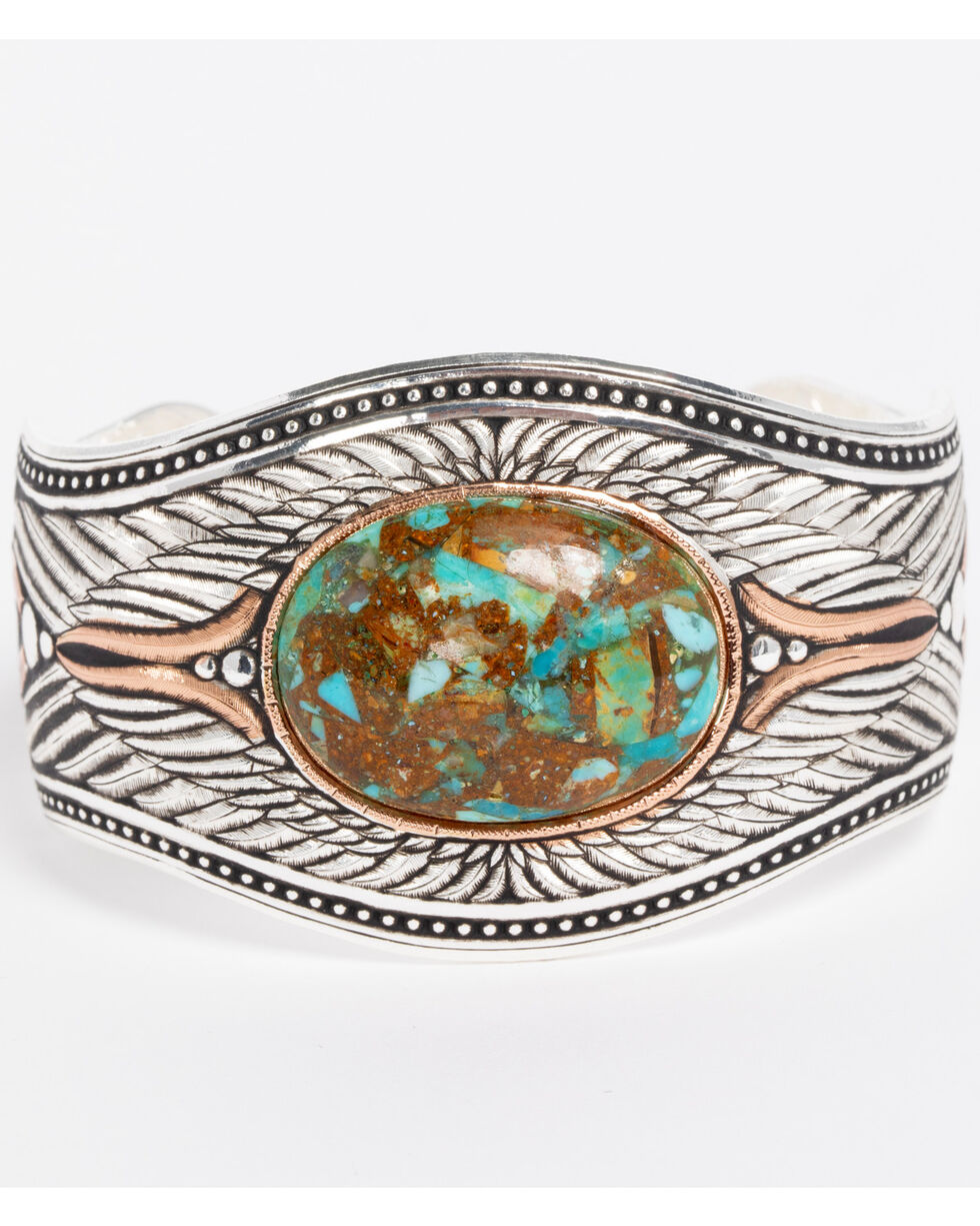 Montana Silversmiths Women's Feathered Flight Turquoise Cuff Bracelet , Silver, hi-res