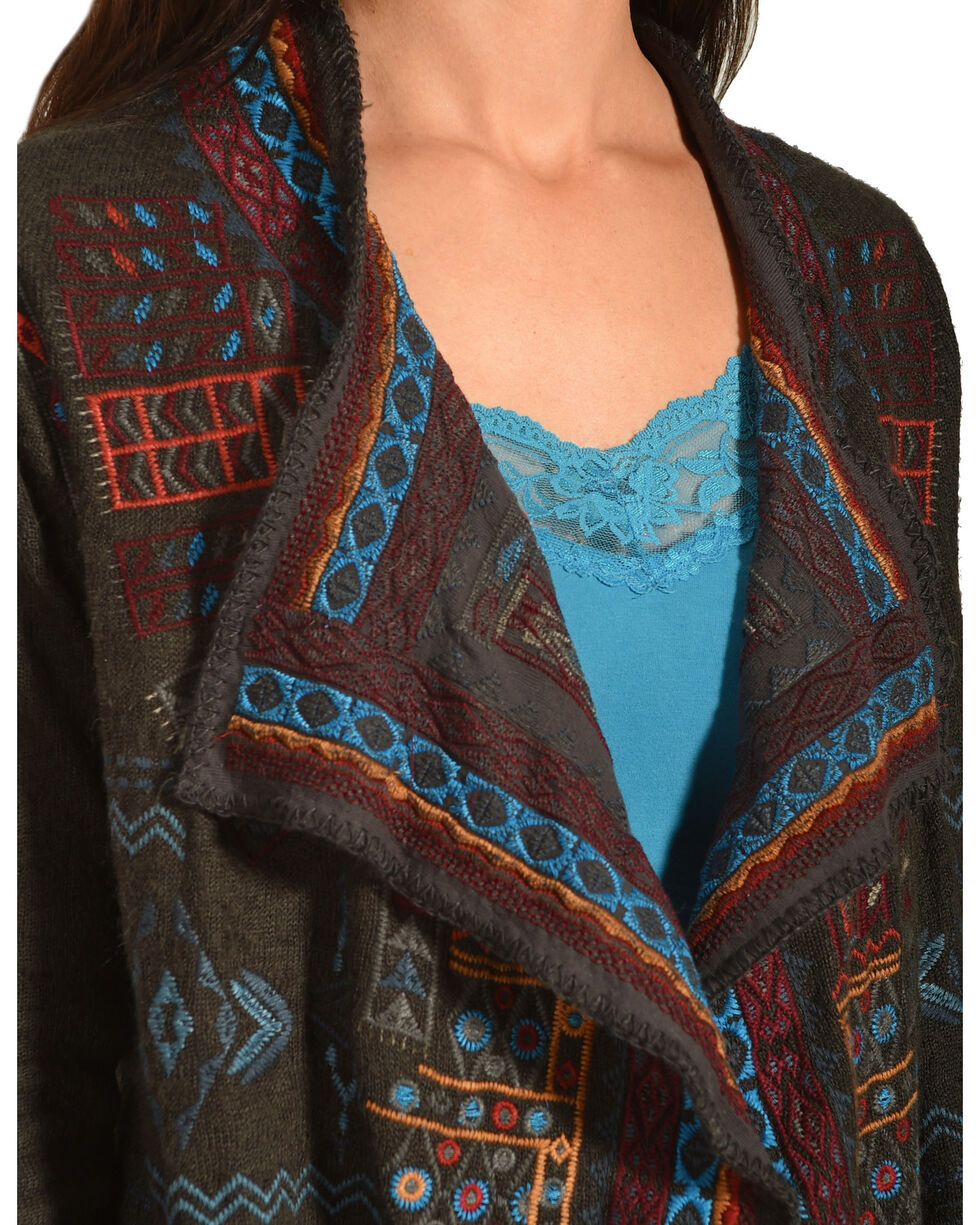 Johnny Was Biya Women's Embroidered Khue Wrap, Charcoal, hi-res