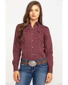 West Made Women's Lattice Shadow Long Sleeve Western Shirt, Wine, hi-res