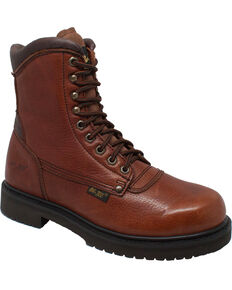 "Ad Tec Men's 8"" Tumbled Leather Work Boots - Soft Toe, Brown, hi-res"