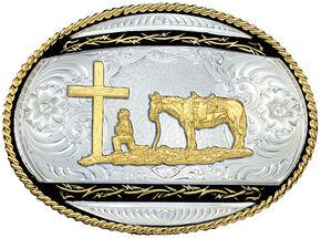 Montana Silversmiths Christian Cowboy Western Belt Buckle, Silver, hi-res