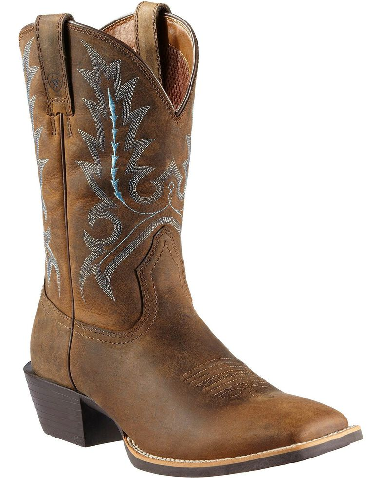38189333be Zoomed Image Ariat Sport Outfitter Cowboy Boots - Square Toe, Distressed,  hi-res