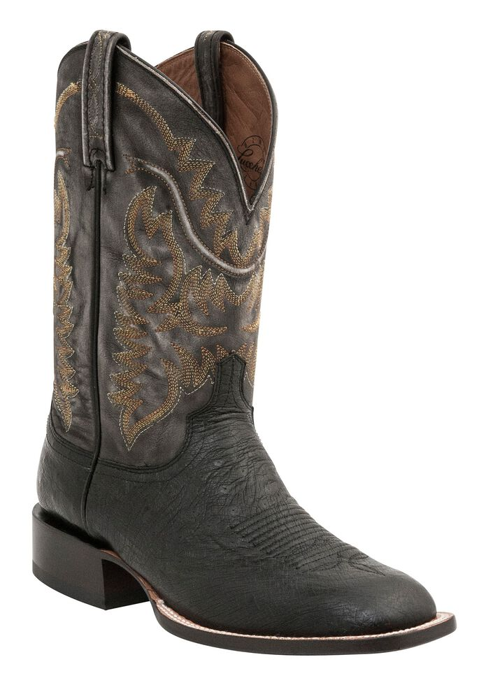 Lucchese Men's Handcrafted 1883 Burt Smooth Ostrich Cowboy Boots - Square Toe, Black, hi-res