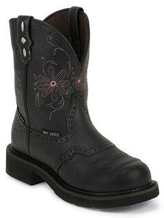 Justin Gypsy Waterproof Work Boots - Steel Toe, Black, hi-res