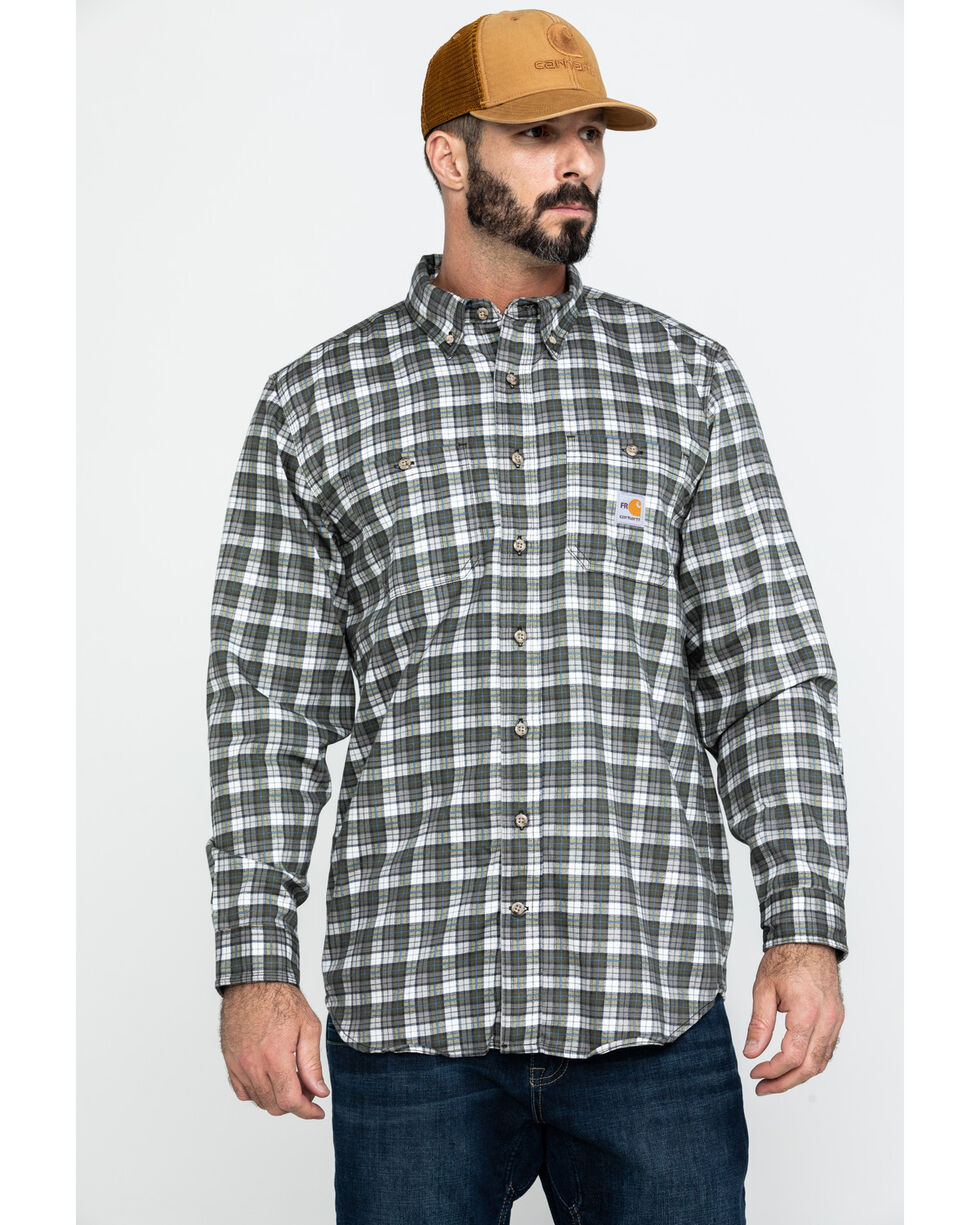 Carhartt Men's Flame Resistant Classic Plaid Shirt, Grey, hi-res