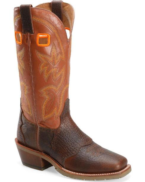 Double H Men's Brown Western Buckaroo Boots - Square Toe , Brown, hi-res