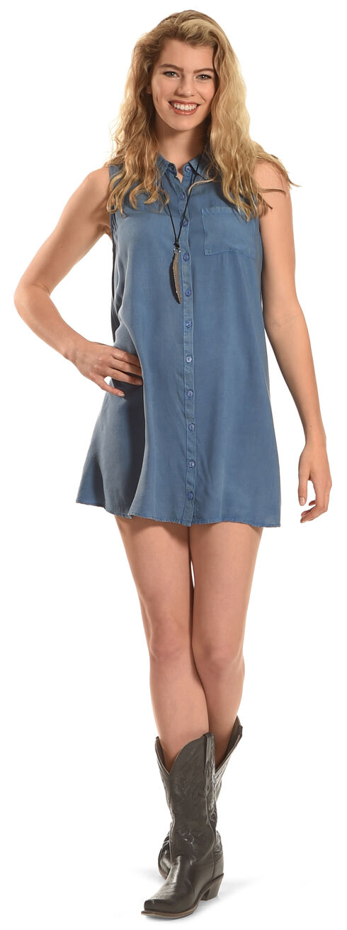 Derek Heart Women's Sleeveless Trapeze Dress, Blue, hi-res