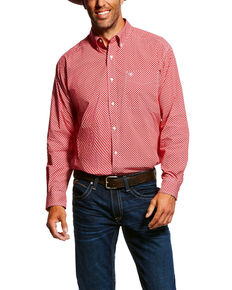 727b09a1 Ariat Mens Garry Geo Print Long Sleeve Western Shirt , Red, hi-res