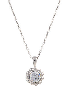 Montana Silversmiths Women's Star Lights Flowered Star Necklace, Silver, hi-res