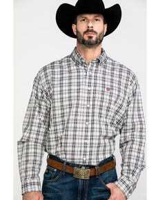 Cinch Men's Multi Tencel Small Plaid Long Sleeve Western Shirt , Purple, hi-res