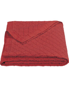 HiEnd Accents Diamond Pattern Red Linen Full/Queen Quilt, Red, hi-res