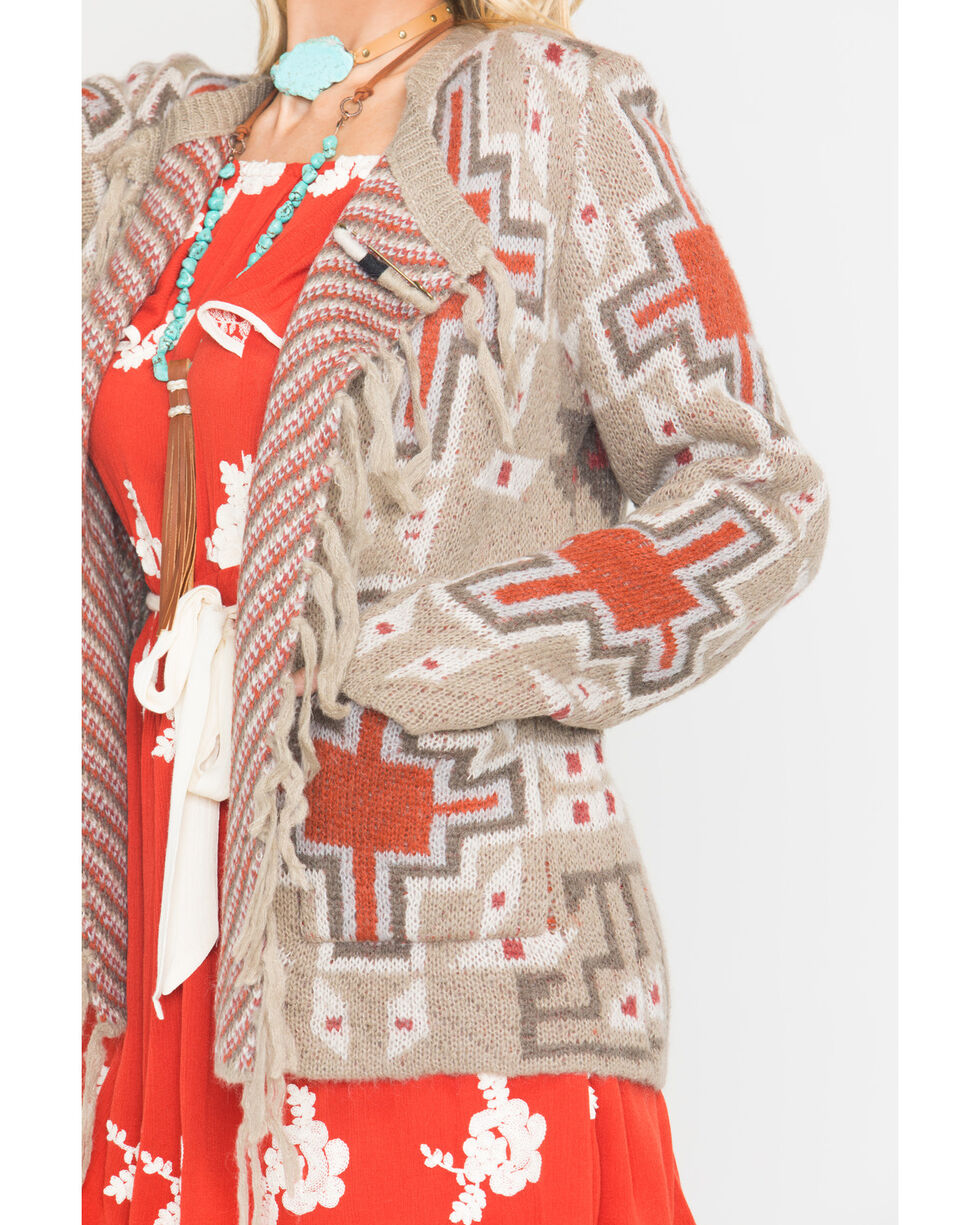MM Vintage Women's Grey Aztec Print Sweater, Taupe, hi-res