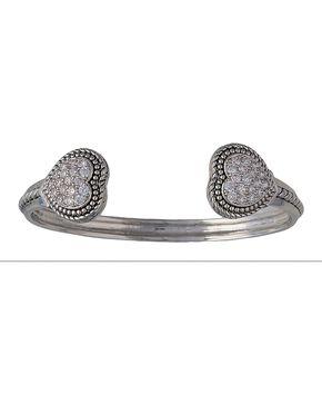 Montana Silversmiths Double Pave Heart Cuff Bracelet, Silver, hi-res