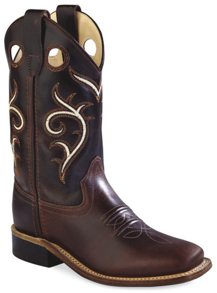 Old West Kids' Brown Swirl Western Cowboy Boots - Square Toe, Brown, hi-res