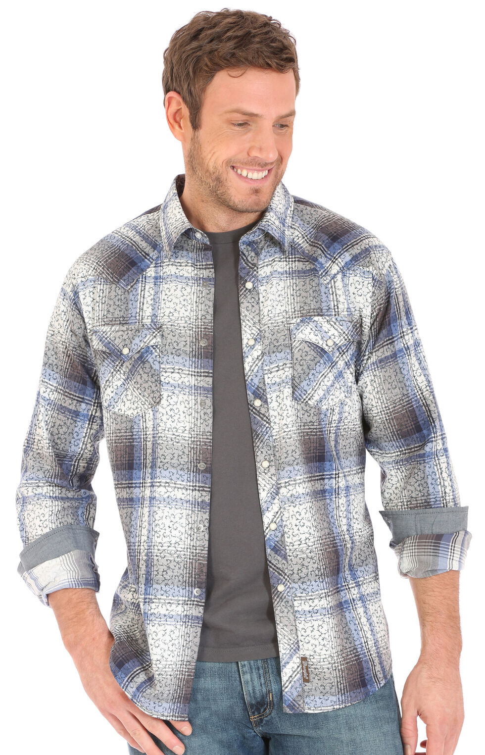 Wrangler Retro Men's Herringbone Print Over Plaid Long Sleeve Snap Shirt, Grey, hi-res