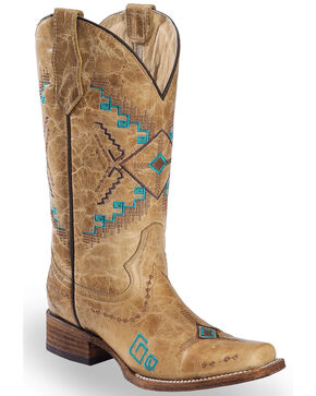 Circle G Women's Aztec Embroidered Western Boots - Square Toe, Ivory, hi-res