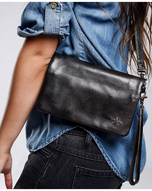 Bed Stu Women's Cadence Black Rustic Wallet/Clutch/Crossbody Bag, Black, hi-res