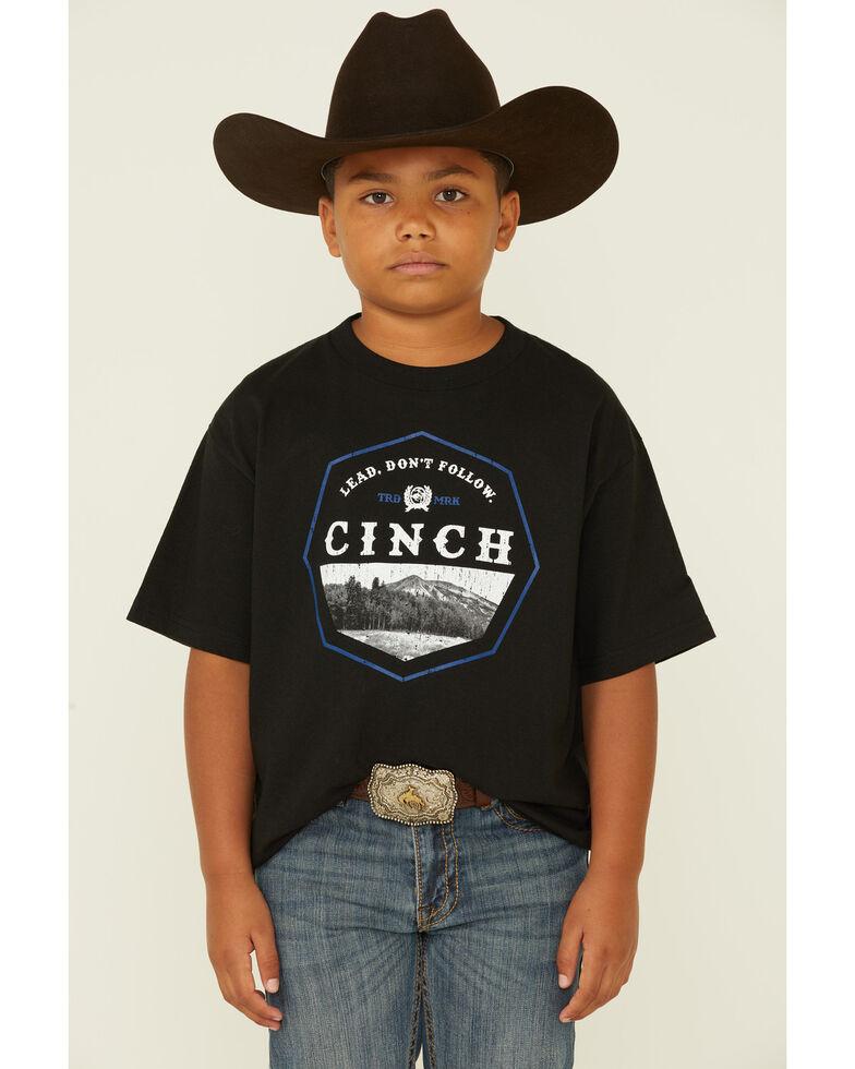 Cinch Boys' Black Lead Don't Follow Mountain Logo Short Sleeve T-Shirt , Black, hi-res