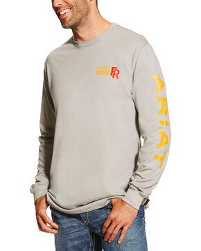 Ariat Men's Grey FR Logo Crew Neck Long Sleeve Shirt - 3X - 4X, Silver, hi-res