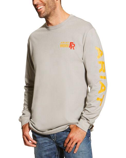 Ariat Men's Grey FR Logo Crew Neck Long Sleeve Shirt - Big and Tall , Silver, hi-res