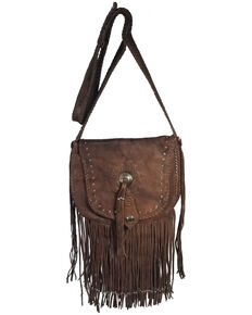 Kobler Leather Women's Brown Concho Crossbody Bag, Brown, hi-res