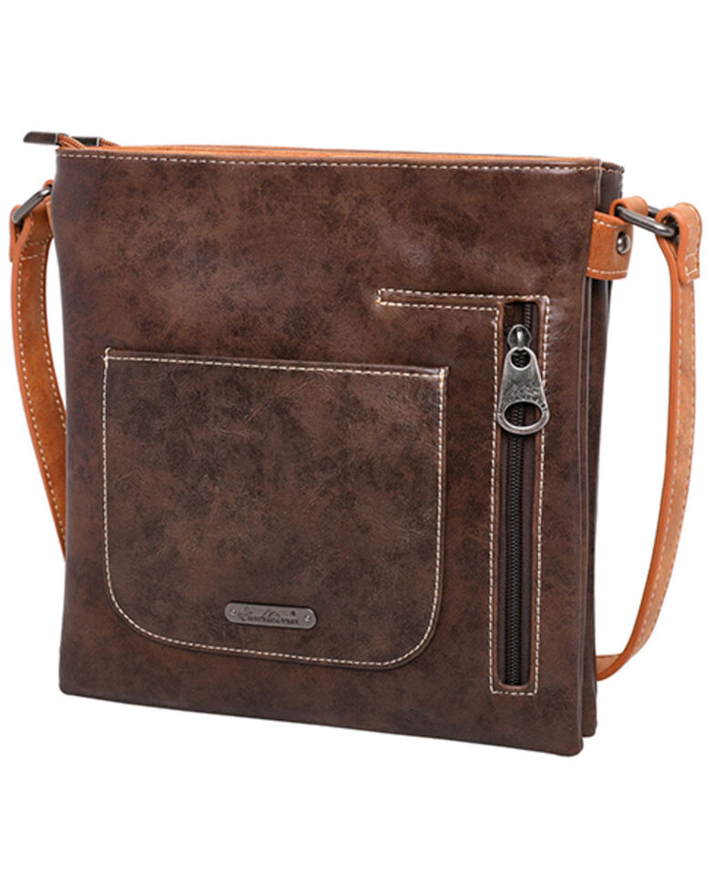 Montana West Women's Embroidered Floral Crossbody Bag, Coffee, hi-res