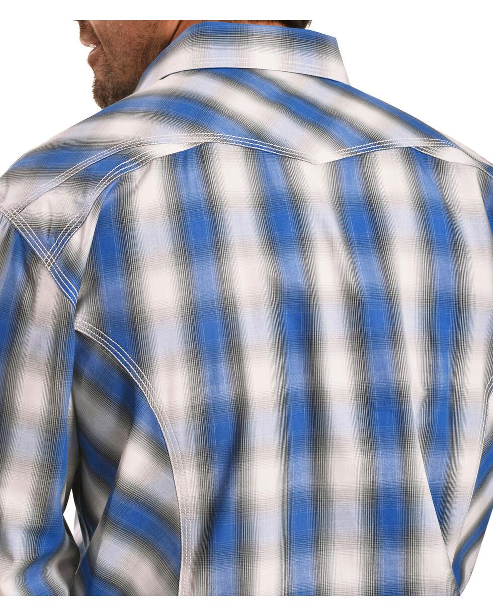 Crazy Cowboy Men's Blue Plaid Western Snap Shirt  , Blue, hi-res