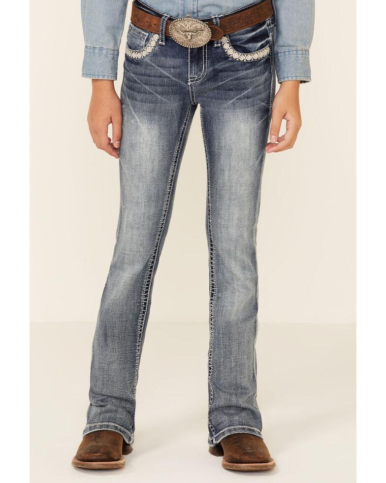 Grace In LA Girls' Medium Wash Dripping Aztec Pocket Embroidered Bootcut Jeans , Medium Blue, hi-res