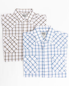 Ely Cattleman Men's Assorted Multi Windowpane Plaid Short Sleeve Western Shirt , Multi, hi-res