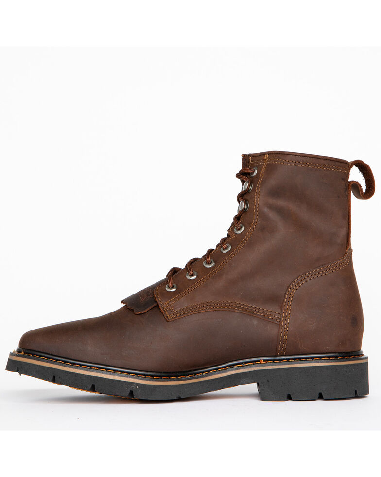 Cody James Men's Lace Up Kiltie Work Boots - Square Toe, Brown, hi-res
