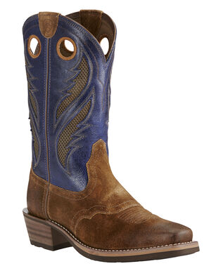 Ariat Mocha Men's Venttek Heritage Roughstock Boots - Square Toe, Copper, hi-res