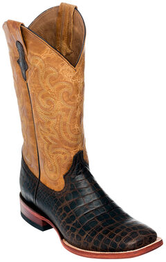 Ferrini Men's Chocolate Brown Caiman Belly Print Western Boots - Square Toe , Chocolate, hi-res