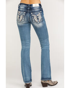 2033bc9c041 Miss Me Womens Floral Winged Embroidered Med Boot Jeans , Blue, hi-res