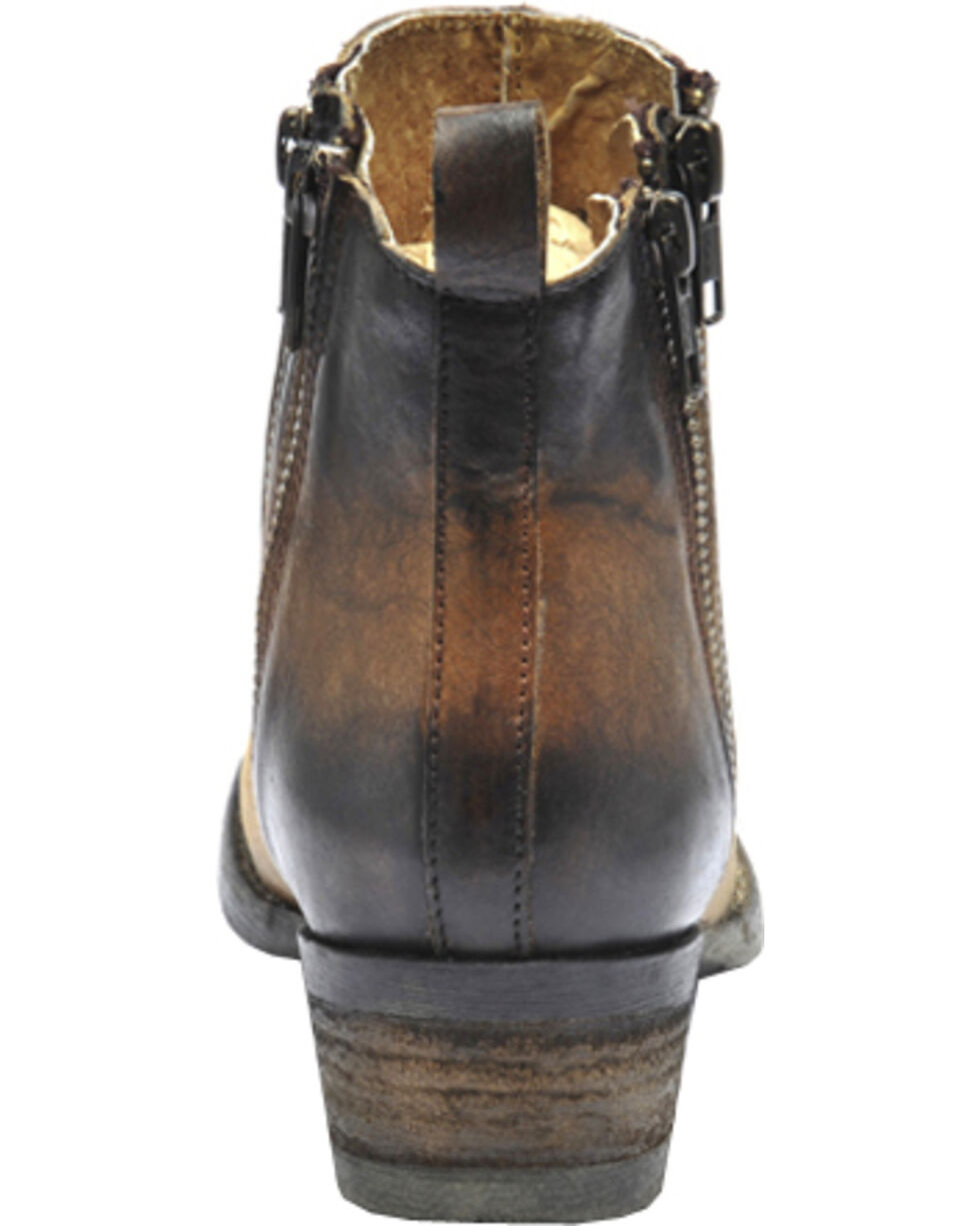 Circle G Burnished Double Zipper Booties - Round Toe, Brown, hi-res