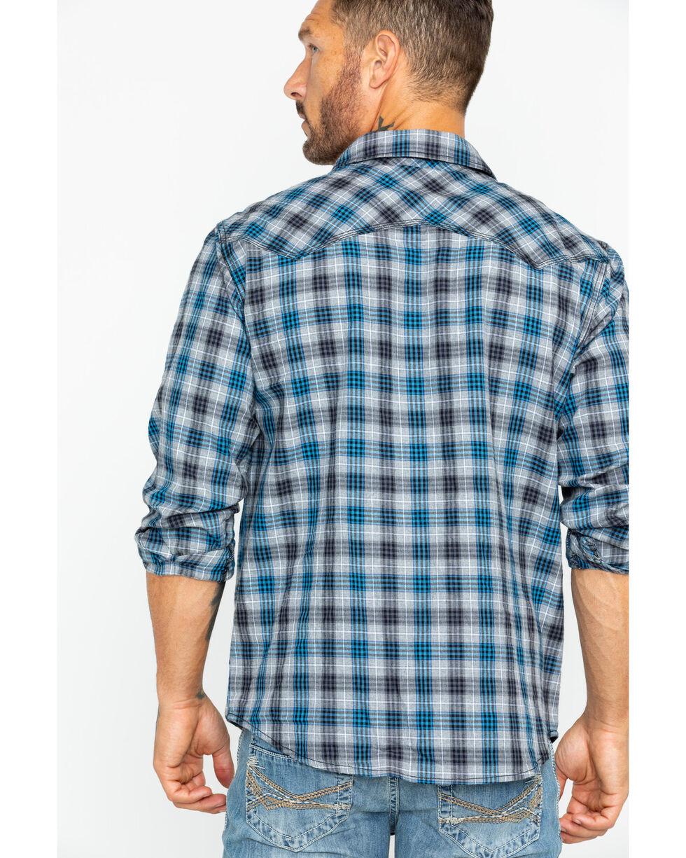 Cody James Men's Range Boss Grey Plaid Western Shirt, Grey, hi-res